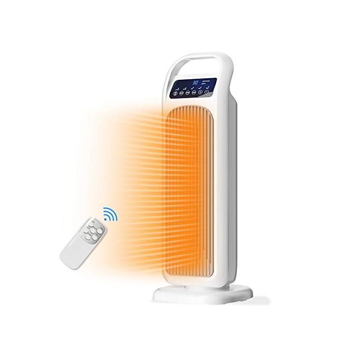 41WpED5pIZL 🔥 3 Modos para Todas las Estaciones 🔥: este calentador de ventilador tiene 3 modos para elegir: modo de alta temperatura de 2000 W, modo de baja temperatura de 1000 W y diseño de modo de ventilador de 45 W, nuestro calentador puede proporcionar calefacción y viento natural en cada temporada, y cumplirá con los requerimientos de su familia. 🔥 Control de Temperatura Constante 🔥: Cuando la temperatura ambiente excede el valor establecido 3 ℃, la calefacción se detendrá y el ventilador dejará de funcionar. Cuando la temperatura ambiente vuelva al valor establecido, el calentador se encenderá automáticamente. El rango de temperatura es: 16-30 ° C, puede elegir la temperatura más cómoda para usted. 🔥 Calentamiento Rápido 🔥: con el elemento calefactor cerámico PTC, el calentador puede calentarse rápidamente en 2 segundos, con mayor eficiencia y mayor vida útil. Muy adecuado para su hogar, oficina y otros espacios. Hay un interruptor antivuelco en la parte inferior del calentador. No se puede usar en la alfombra. Debe colocarse en un piso plano o duro.
