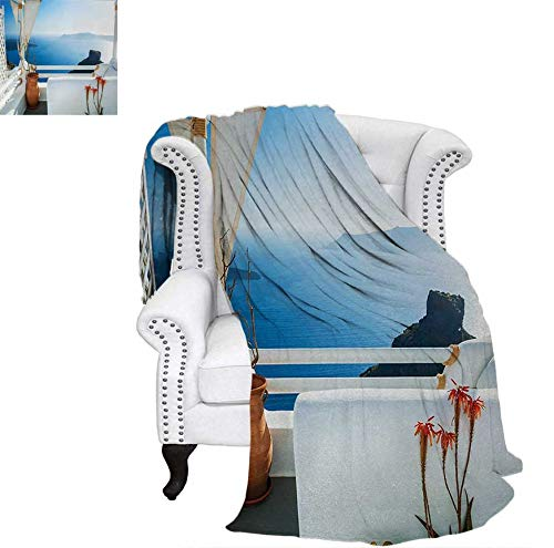 Santorini Quilt - Digital Printing Blanket Holiday Terrace with Sea at Sunset Architecture on Santorini Island Greece Summer Quilt Comforter 70