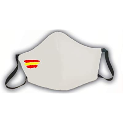 Mascarilla protectora blanca homologada bandera de España 3 capas