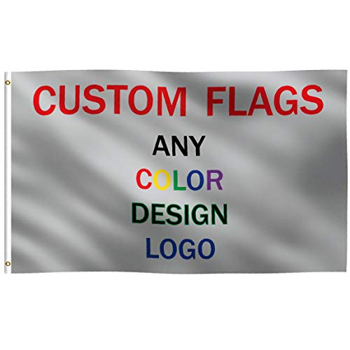 K-AXIS Custom 3x5 Foot Flag: 100% Polyester Banner with Strong Canvas Header - for Any Color, Design, Image, or Business Logo - UV Resistant Vibrant Digital Print - for Outdoor or Indoor Use (3x5 ft)