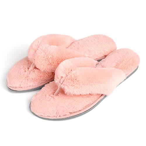 RockDove Women's Faux Fur Spa Slide with Memory Foam, Size 5-6 US Women, Pink