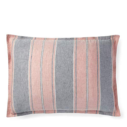 (RALPH LAUREN Standard Striped Pillow Sham Oakview Blue and Red Made in Portugal)