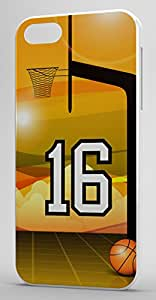 Basketball Sports Fan Player Number 16 Clear Plastic Decorative iPhone 4/4s Case