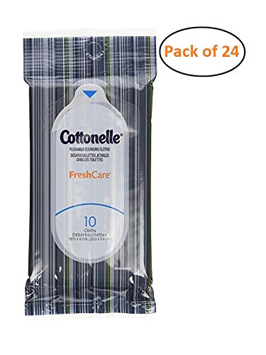 Cottonelle Fresh Care Flushable Wipes, Travel Pack, 24 Travel Packs of 10 Cloths Each by Cottonelle
