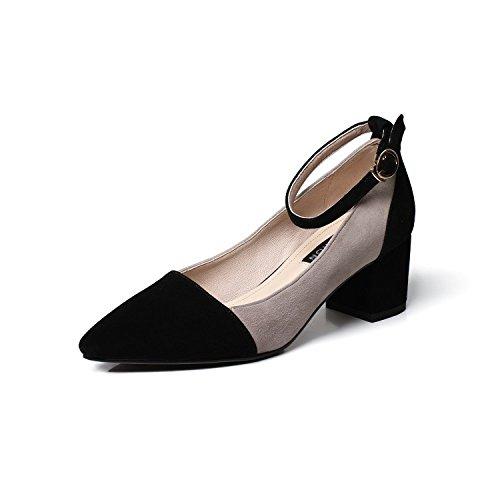 MUYII Sandalias Gruesas Del Talón De Las Mujeres Zapatos Casuales De La Hebilla Baja Grey