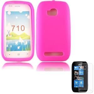 Silicona Concha Caso Cubrir Y Protector De Pantalla Para Nokia Lumia 710 / Pink