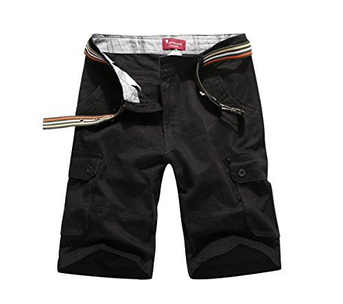 - CANASOUR Men Khaki Camouflage Multi Pockets Jogger Capri Cargo Shorts (US Size 36, Black)