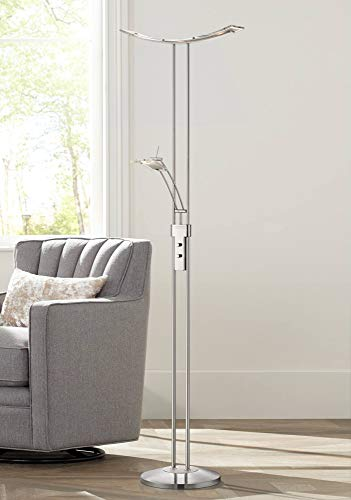 Vicina Modern Torchiere Floor Lamp LED Dimmable Chrome Silver with Side Light for Living Room Reading Uplight Office - Possini Euro Design