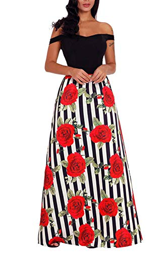 Novias Women Casual High Waisted African Print A Line Maxi Long Skirt with Pockets(Rose M)