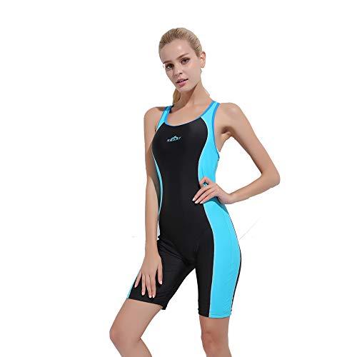 - TeeYee Women Girls Swimsuit One Piece Sleeveless Padded Shorty Boyleg Monokini Patchwork Diving Swimwear (M, Blue)