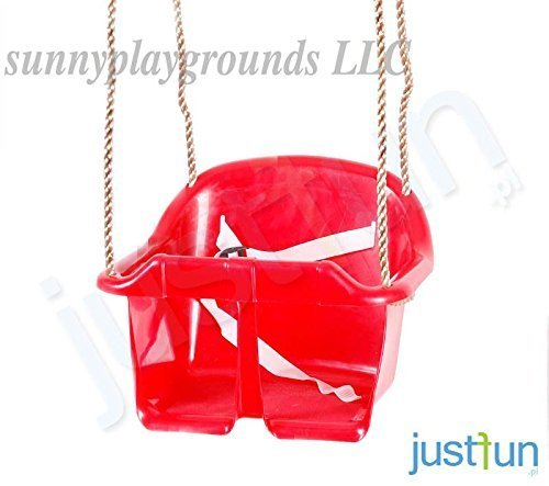 BUCKET SWING SEAT RED-Outdoor and Indoor Playground Swing Set Accessories for Kids