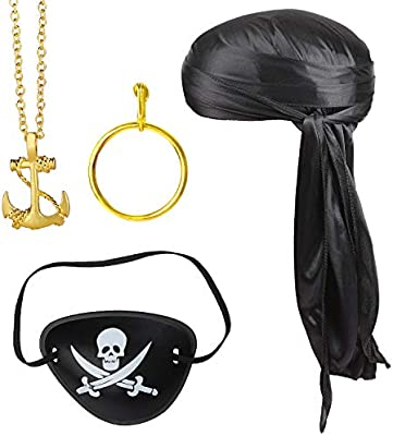 Pirate Accessories Set Eyepatch And Earring Hoop Gold Fancy Dress New