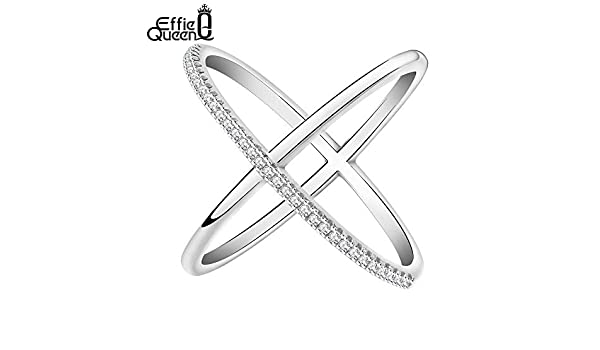 Amazon.com: JEWH New Big Cross Zircon Ring - Fashion Female Jewelry - Infinity Sign Women Rose Gold Rings for Party - Suitable for Many Styles (Silver) (9): ...