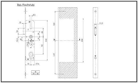 Renovierungsschl/össer f/ür Mehrfachverriegelungen Dornma/ß: 65 mm KFV Reparaturschl/össer 8250 Entfernung 72mm Hauptschl/össer Schlosskasten 10 mm Nuss
