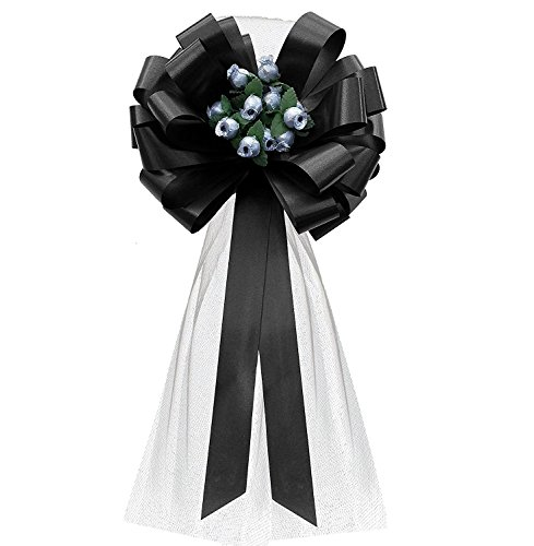 Black Wedding Pull Bows with Silver Tulle Tails and Silver Rosebuds - 8