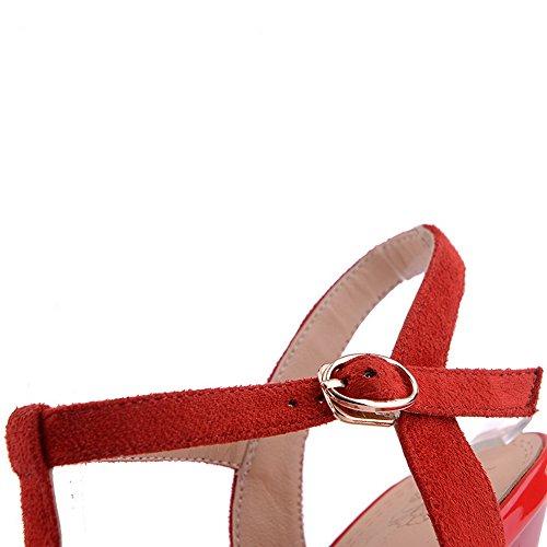 Amoonyfashion Donna Open Toe Tacco Alto In Camoscio Sandalo Sandalo Solido Con Fiocco Rosso