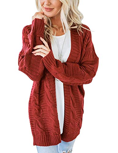 (Omoone Women's Long Sleeve Open Front Chunky Oversized Knitted Sweater Cardigan (Rust Red, S) )