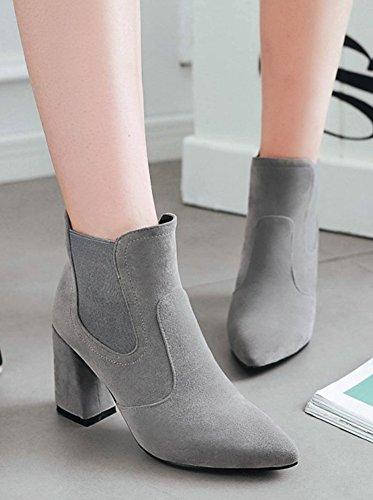 Aisun Kvinna Sexiga Dressat Blockera Hög Klack Boots Spetsiga Tå Dra På Chelsea Tossor Grå