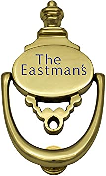 Prestige Plaques Personalized 2 Piece Door Knocker Large Size Polished Brass Engraved 8 25 X 4 5 Amazon Com