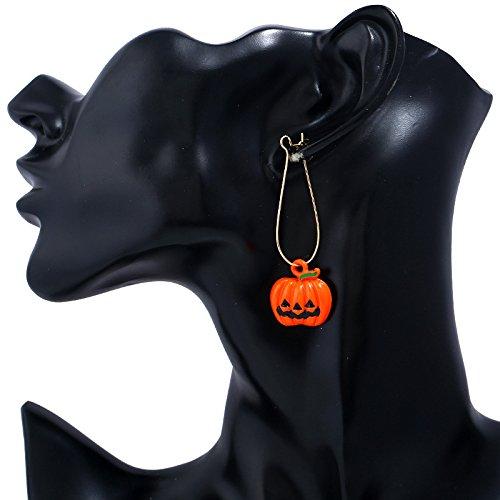 WLL Halloween Set Black Ghost Orange Pumpkin Earrings for Women Girls