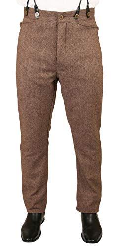 Historical Emporium Men's Herringbone Tweed Dress Trousers 48 Brown ()