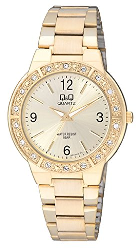 Price comparison product image GOLD LADIES METAL WATER RESIST WATCH WITH STONES