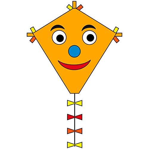 Invento 102110 - Ecoline Eddy Happy Face Kinderdrachen Einleiner, Ab 5 Jahren, 50 x 45 cm und 2.5 m Drachenschwanz Ripstop-Polyester 2-5 Beaufort