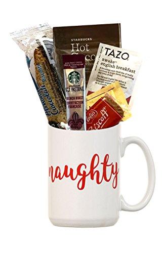 Christmas Gifts- Holiday Coffee Gift Sets- Kids Hot Chocolate Mug Kit- Yuletide Coffee Mugs- Coffees For Christmas (Mug Holiday Gift Set - Coffee Tea Cocoa- Naughty)