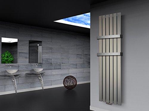 Badheizkörper Design Peking 3, HxB: 180 x 47 cm, 1118 Watt Edelstahloptik + 2 Handtuchhalter (50mm) (Marke: Szagato) Made in Germany / Top-verarbeiteter Bad und Wohnraum-Heizkörper (Mittelanschluss)