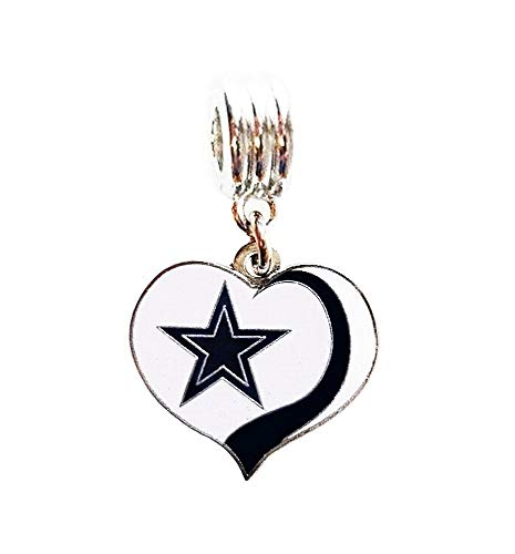 Heavens Jewelry Dallas Cowboys Football Heart Team Charm Slide Pendant for Your Necklace European Charm Bracelet (Fits Most Name Brands) DIY Projects ETC