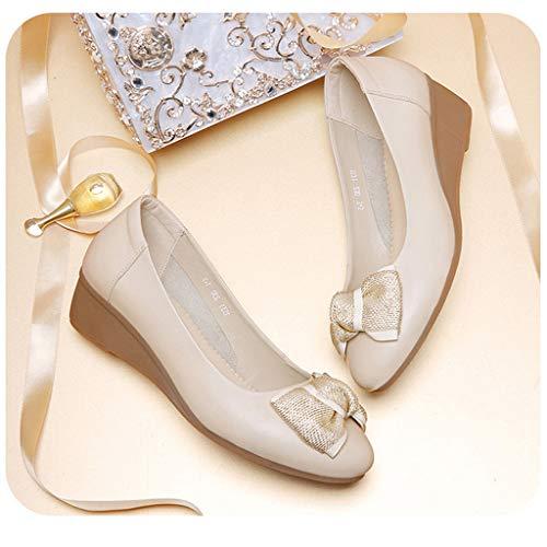 un professionnel travail de avec noeud pour décontractées femmes Chaussures beige nY45dqzzw