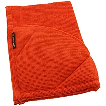 Rachael Ray Kitchen Towel and Oven Glove Moppine - A 2-in-1 Ultra Absorbent Kitchen Towel with Heat Resistant Pot-Holder Padded Pockets to Handle Hot Cookware and Bakeware ,Orange