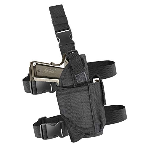 (EZT3D Drop Leg Holster, Pistol Leg Holster Right Handed Tactical Thigh Airsoft Pistol Holster with Magazine Pouch Adjustable Gun Holster fits 1911 Glock Walther Beretta and More (Black))