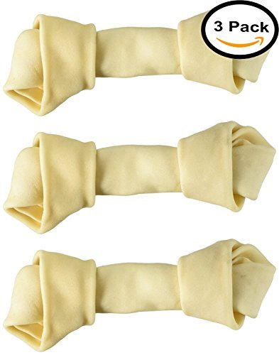Dog rawhide bones Bulk pack of 3 natural rawhide protein treats knot bone chews Medium (Natural Rawhide Dog Bones)