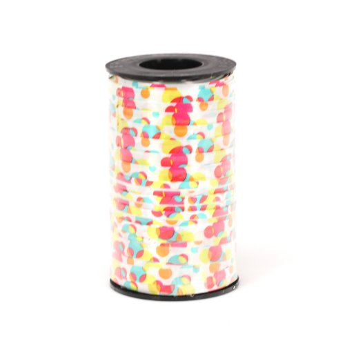 Berwick 3/8-Inch Wide by 250-Yard Spool Fun Dots Printed Curling Ribbon, White/Multi