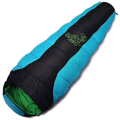 Goodforyou21 Jungle King Thickening Fill Four Holes Cotton Sleeping Bags Outdoor Camping Mountaineering Special Camping Bag Movement,Sky Blue ()
