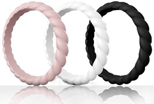 Made for Her Stackable Silicone Wedding Ring for Gym Sports Women - Thin & Durable Pack of 3