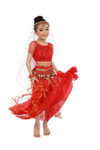Girls Belly Dance Top Skirt Set Halloween Costume with Head Veil,Waist Chain,Red,L(Height: 51.2in-57.1in) -
