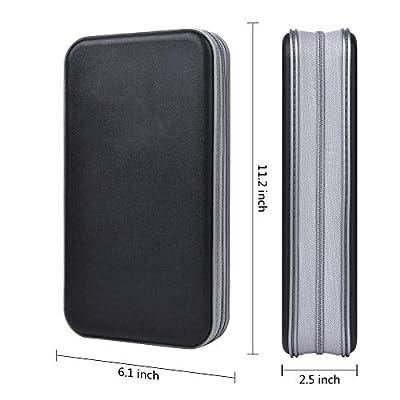 alavisxf xx CD Case, 96 Capacity Hard Plastic CD Holder Protective DVD Disc Storage Case Holder Portable Zipper CD DVD Organizer Storage Wallet for Car Home Travel (96 Capacity, Black): Electronics
