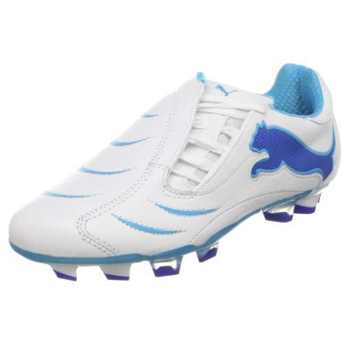 Puma Womens Powercat 2.10 FG Soccer Cleat White/Fluo Blue/Olympian Blue
