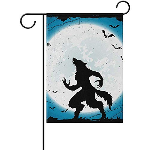 Sandayun88x Garden Flags Dark Halloween Moon Werewolf Bats Welcome Garden Flag 12 X 18 Inches, Double Sided Seasonal Outdoor Flag and Best for Party Yard Home Decor