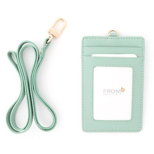 Leather Slim Credit Card Holder Id Card Case Holder Useful Purse with Neck Strap (Sky Blue)