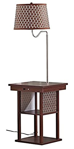 Brightech Madison LED Floor Lamp with Built-in Black Table and Shelf – Multi Purpose End Table with 2 USB Ports & US Standard Outlet – Modern Wood Lamp for Bedroom and Living Room - Havana Brown