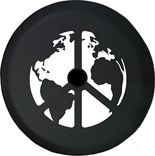 American Unlimited JL Series Spare Tire Cover with Backup Camera Hole World Peace Sign Global Harmony & Love Black 33 in