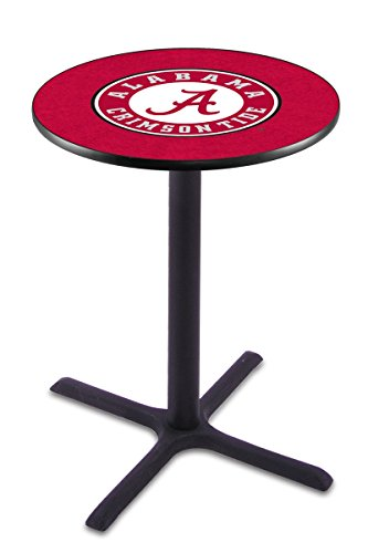 "Holland Bar Stool L211B University Of Alabama (Script""A"") Logo Officially Licensed Pub Table, 28"" x 42"", Black"