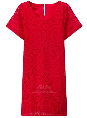 Women Dress Casual Jaycargogo Summer Hollow Red s Party Out Lace Short Sleeve Mini PqHdfHa