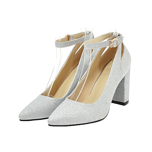 Heels Solid Closed Buckle Silver Pumps WeiPoot High Sequins Shoes Women's Toe wqIEAI