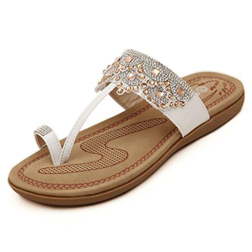 1 Sparlke Rhinestone Women's Flat Fashion Slippers Doris White Sandals w975 IqpwgaE