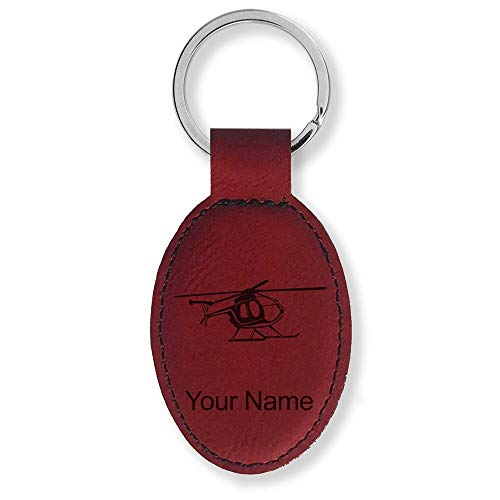 (Oval Keychain, Helicopter 1, Personalized Engraving Included (Burgundy))