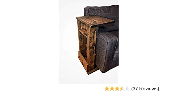 amazon com rustic sofa chair arm rest table stand with shelf and